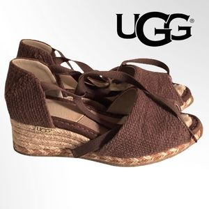 UGG DELMAR SHERPA BROWN ESPADRILLES SHOES WEDGES 7